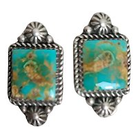 Old Pawn Clip Earrings Beautiful Sonoran Gold Turquoise Stones