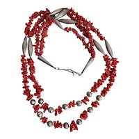 Old Pawn Double Strand Coral and Silver Necklace