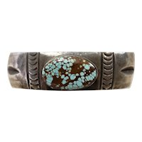 Old Pawn Navajo Silver and Number 8 Turquoise Bracelet