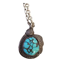Early Native American  Silver and Carico Lakes Turquoise Necklace