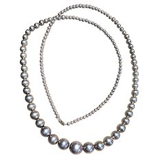 Old Pawn Silver Beads Navajo Pearls