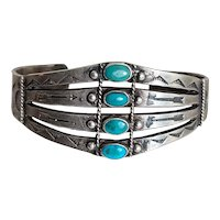 Old Pawn Harvey Era Sterling Bracelet with 4 Stacked Blue Turquoise Stones