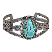 Old Pawn Navajo Harvey Era Cuff Bracelet with Large Oval Pilot Mountain Turquoise