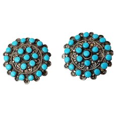 Early Zuni Silver and Turquoise Cluster Earrings