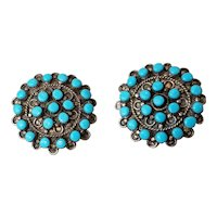 Old Pawn Zuni Silver and Turquoise Cluster Earrings