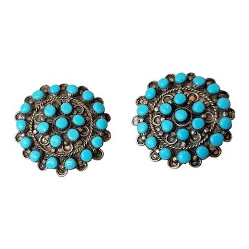 Vintage Southwest Turquoise Cluster Earrings