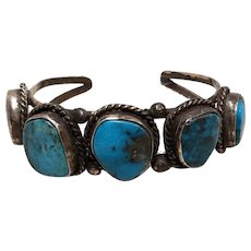Early Navajo Cuff Bracelet with 5 Deep Blue Turquoise Stones