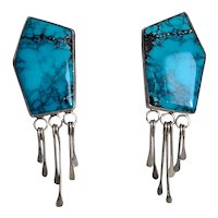 Fantastic Native American Pair of Clip Earrings with Incredibly Beautiful Turquoise