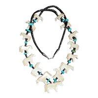 "Old Pawn Native Fetish Necklace All Horses 33"" Long"