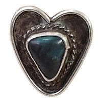 Early Native American Old Pawn Navajo Heart Shaped Silver and Turquoise Ring