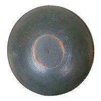 Antique Treen Bowl with Original Blue Paint