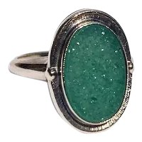10k Oval Green Ring