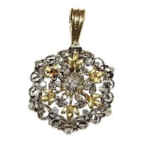 Two tone Antique pendant with diamonds
