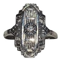 Art Deco  White Gold & Diamond Ring