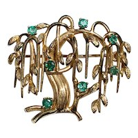14k Gold & Emerald  weeping Willow Tree