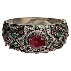 Indian Ruby Cuff Bracelet