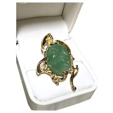 Genuine Argentine Emerald Pendant in 14k Yellow Gold ~ 1960
