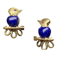 Antique Russian Lapis & Ruby earrings