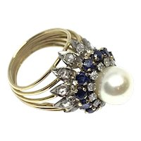 Pearl Ring with Diamonds & Sapphires