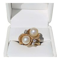 Pearl & Diamond Bark Finish Ring
