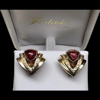 Pierced Earrings in Gold/Tourmaline ~ circa early 1980's