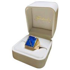 Rectangular lapis lazuli ring