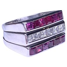 Retro Diamond & Ruby Ring
