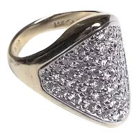 14k Pave Saddle ring with 2.02 TCW CT diamonds
