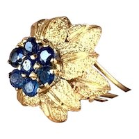 Sapphire Flower Ring ~ circa 1960's