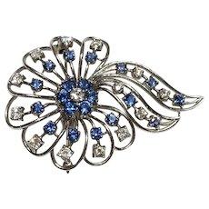 Platinum Sapphire & Diamond Pin