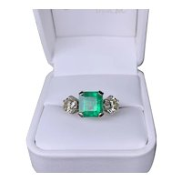Three Stone Diamond & Emerald Ring
