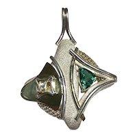 Fancy cut green Tourmaline and Diamond Pendant