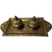 Vintage Ornate Double Brass Inkwell - GERMANY Numbered 3143