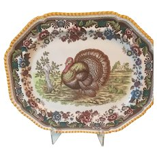 Vintage Spode Large Gadroon Multi Colored Turkey Platter ENGLAND Transferware