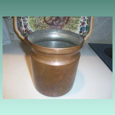 Vintage Copper Utensil Crock Holder Mid Century Style