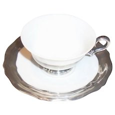 Rosenthal Sterling Silver Inlaid Demitasse Cup and Saucer Set GERMANY