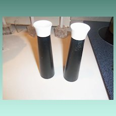 Mid Century Black and White Salt and Pepper Shaker Set with Removable Lids