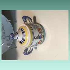 19th C Signed H. Quimper Faience Sugar Bowl with Lid Numbered