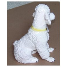 "Japanese Poodle Puppy figurine - ceramic - Vintage - 7-3/4"" - white"