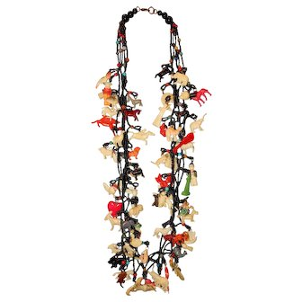 """Vintage 27"""" Necklace with 65 Celluloid Charms"""