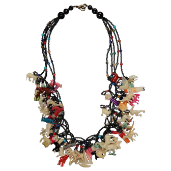 "Vintage 21"" Necklace with 55 Celluloid Charms"