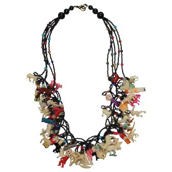 """Vintage 21"""" Necklace with 55 Celluloid Charms"""