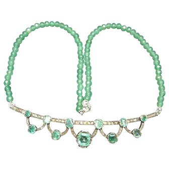 Emerald and rose diamond necklace