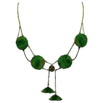 Antique Jade 14K Necklace