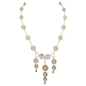 Victorian rose quartz 14k necklace