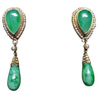 Jade seed pearl, marked 14k earrings