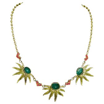 Emerald, ruby, 18k necklace,  ca 1950 (necklace clasp 14k)