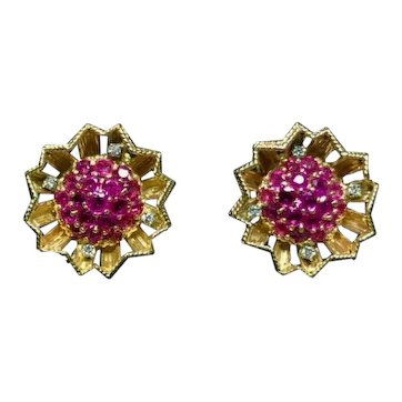 Ruby Diamond 14k Earrings