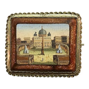 Micro Mosaic Architectural Brooch