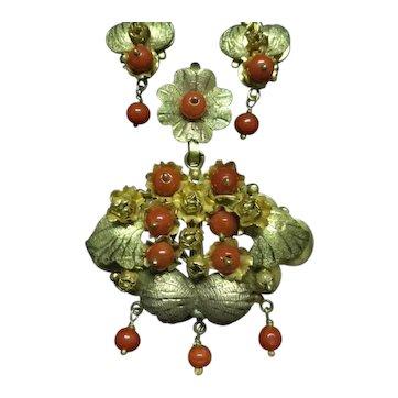 Coral 10k Pendant & Earrings